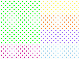 Six EPS8 White Background Swatches with Polka Dots
