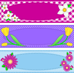 Three Vector Oval Borders With Flowers and Copy Space