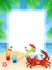 Summer postcard with a happy crab