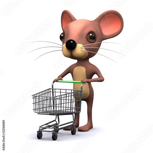 3d Mouse with shopping trolley