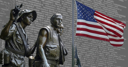 canvas print picture Soldiers of Vietnam Memorial part two