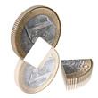 Euro Viertel auf dem Kopf