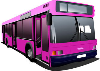 Pink city bus. Coach. Vector illustration
