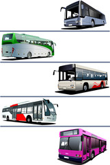 Five city buses. Coach. Vector illustration
