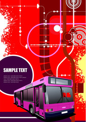 Abstract hi-tech background with city bus image. Vector illustra