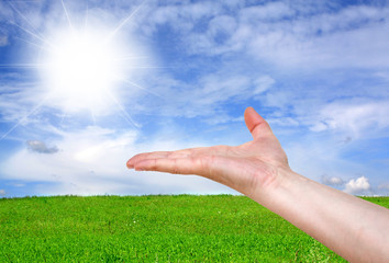 Empty hand on nature background