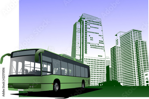 Abstract urban background with city bus image. Vector illustrati