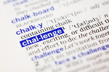 Dictionary definition of word challange in blue color