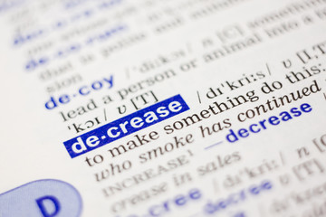 Dictionary definition of word decrease in blue color