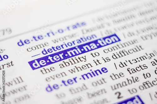 Dictionary definition of word determination in blue color