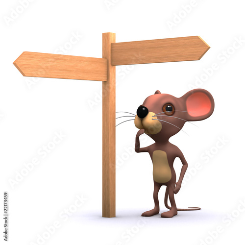 3d mouse looking at signpost