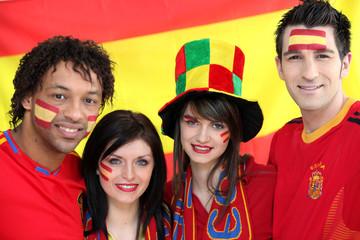 Groupe d'amis supporter de l'Espagne