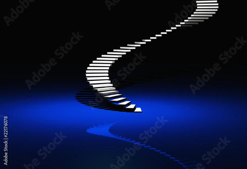 White Modern Stairs - Blue Background - 50