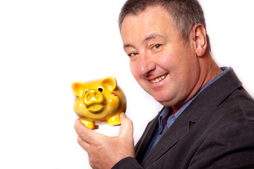 Mann und sein Sparschwein