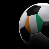 Ivory Coast soccer ball over black background poster