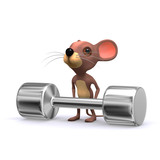 3d weightlifter mouse poster