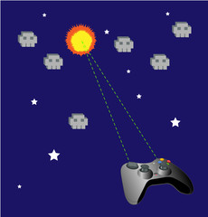 Game joypad vs ufo vector background.
