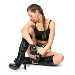 Beautiful fetish girl with handcuffs