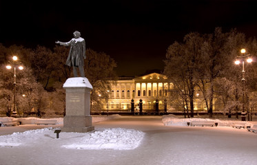The building of the Russian Museum and Pushkin monument at night