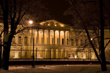 The building of the Russian Museum at night