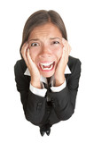 Funny businesswoman with stress isolated poster