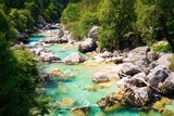 Emerald coloured alpine river Soca / Isonzo, Slovenia
