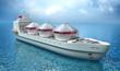 Oil Tanker ship sails across the Ocean