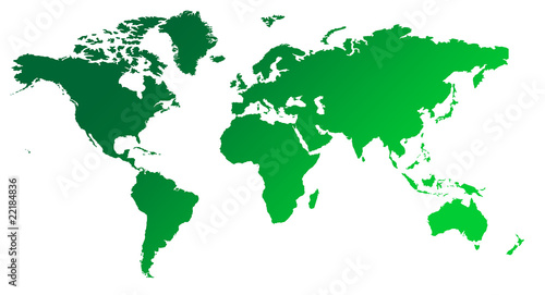 Green gradient map of World