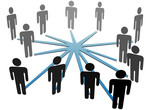 People connect in social media network or business poster
