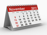 2011 year calendar. November. Isolated 3D poster