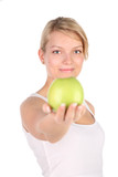 charming blonde with green apple in hands