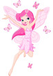 Cute pink spring fairy