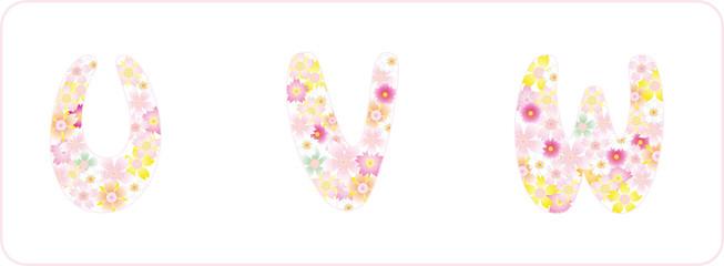 粉红樱花字母UVW