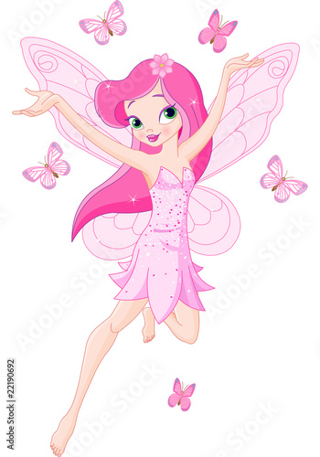 Cute pink spring fairy - 22190692