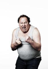 homme obèse en colère