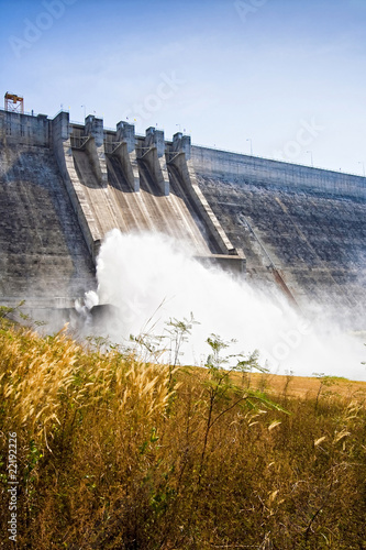 Large cement dam in Thailand.