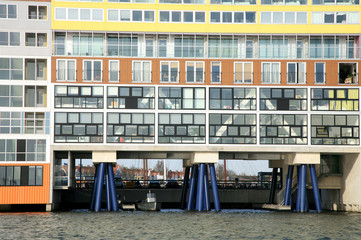 Building on water in Amsterdam.
