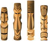 Four different wooden Hawaii Tikis