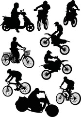 men on motorcycle and bicycle collection