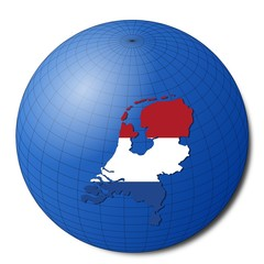 Netherlands map flag on abstract globe illustration