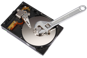Adjustable wrench turn off a hard disk