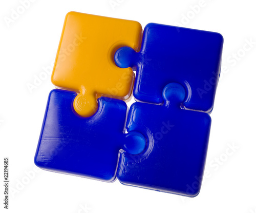 blue and yellow puzzle square
