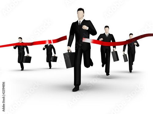 Group of the businessman runs to red tape