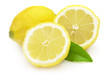 Juicy lemon with leaves