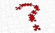 Question mark puzzle with red background