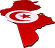 Carte de la Tunisie 3D drapeau (détouré)