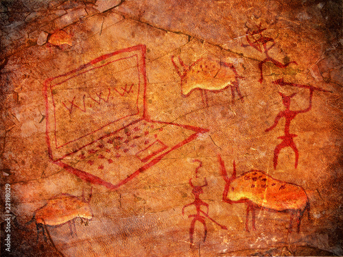 hunters on cave paint digital illustration with notebook - 22198029