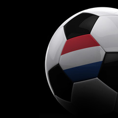 Dutch soccer ball over black background