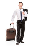 Happy business traveler carrying his luggage isolated on white poster