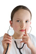 Little girl with a white coat and stethoscope
